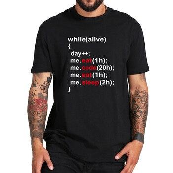 В то время как живой программист футболка Live Eat Code Eat Sleep простая футболка с надписью Nerd Coder европейский размер
