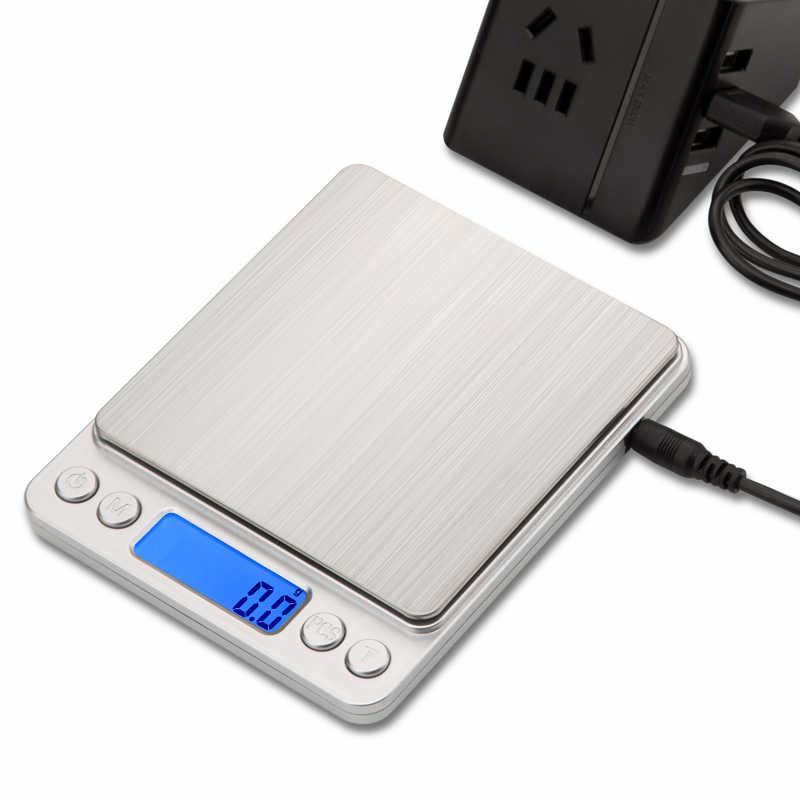 Mini Elektronische Küche Skala 0,1g Präzision post Ernährung skala für Kochen Backen Messen Werkzeuge mit 2 trays silber & gold