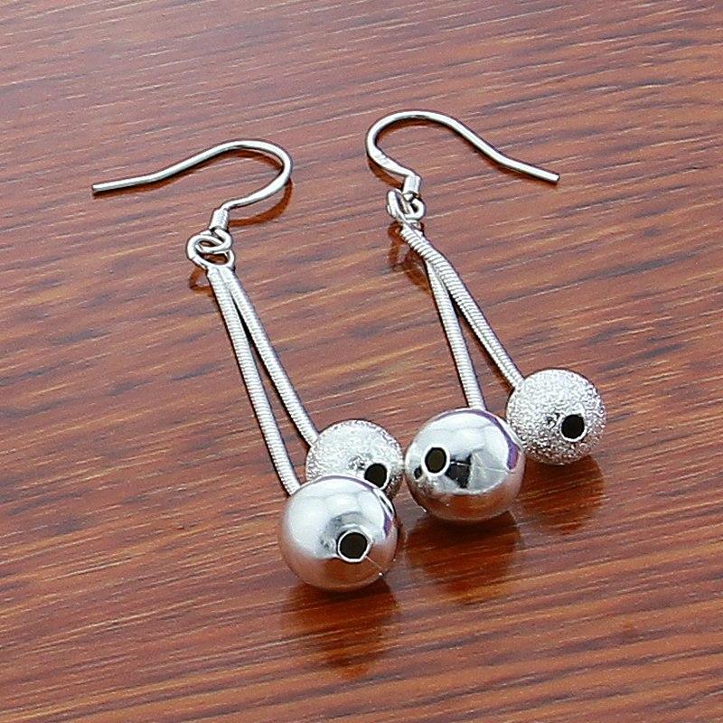Female Models Long Paragraph two Beads Earrings Silver 925 Fashion Jewelry Lovely Drop Earrings For Women in Drop Earrings from Jewelry Accessories