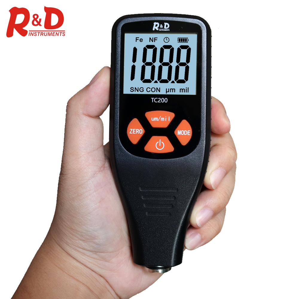 R&D Car Paint Coating Thickness Gauge 0.1 Micron/0-1500 Film Thickness Tester Measuring FE/NFE Russian Manual Paint Tool TC200