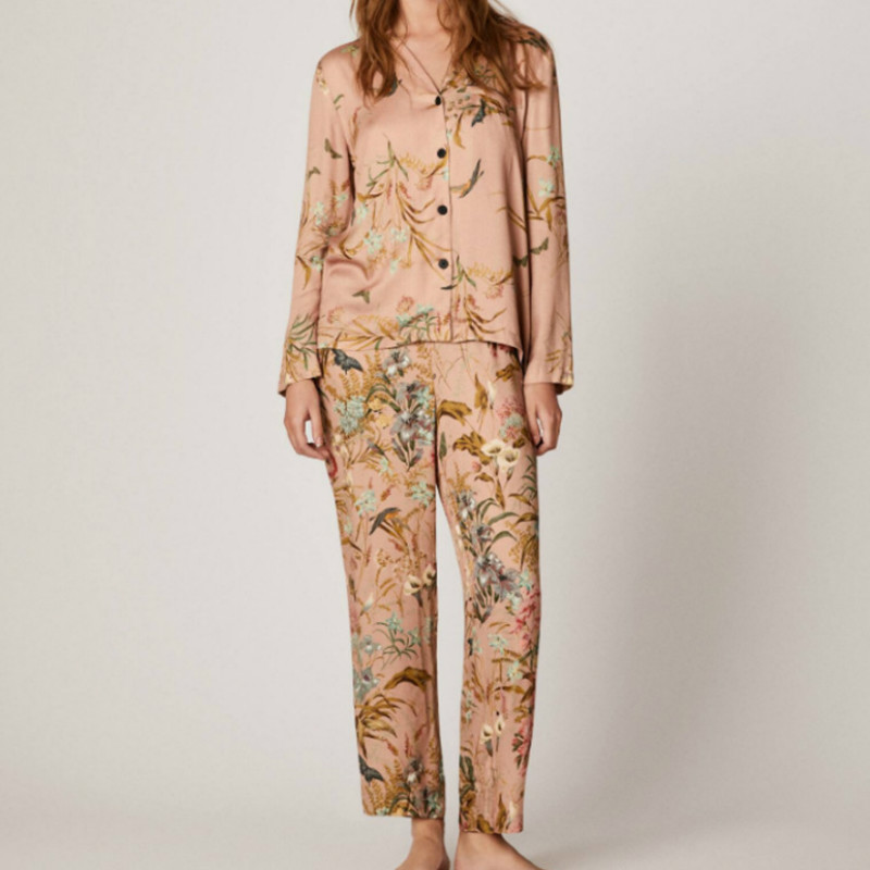 Spring New  Women Long Sleeve Pants Pajamas Satin Flower And Bird Printing Comfortable Home Suit Womens Luxury Sexy Clothes
