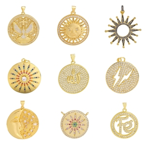 Juya DIY Luxury Charms Jewelry Making Accessories Handmade Cubic Zirconia Round Shape Allah Sun Moon Evil Eye Charms Supplies