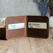Hand Stitching Manmade Genuine Leather Wallets for Men Minimalist Retro Wallet Designer Gift