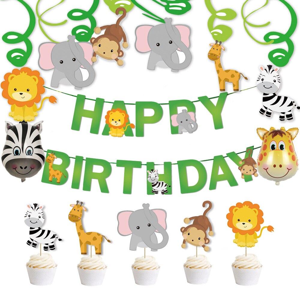 Зеленый лист животные день рождения тянуть флаг мультфильм Животные жираф слон Зебра алюминиевый шар День рождения баннер торт карты fores