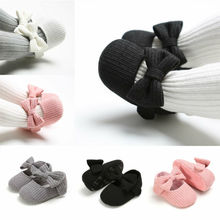 Toddler Kids Baby Girls PU Princess Bow Loving Heart Shoes Crib Sole Sneaker