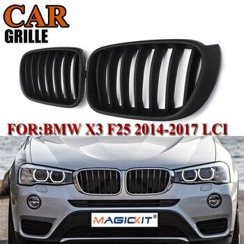 MagicKit Grille For BMW F25 F26 X3 X4 2014 2015 X3M 2016 2017 LCI Bumper Hood Matte Black Kidney Grill Front Bumper Racing Grill