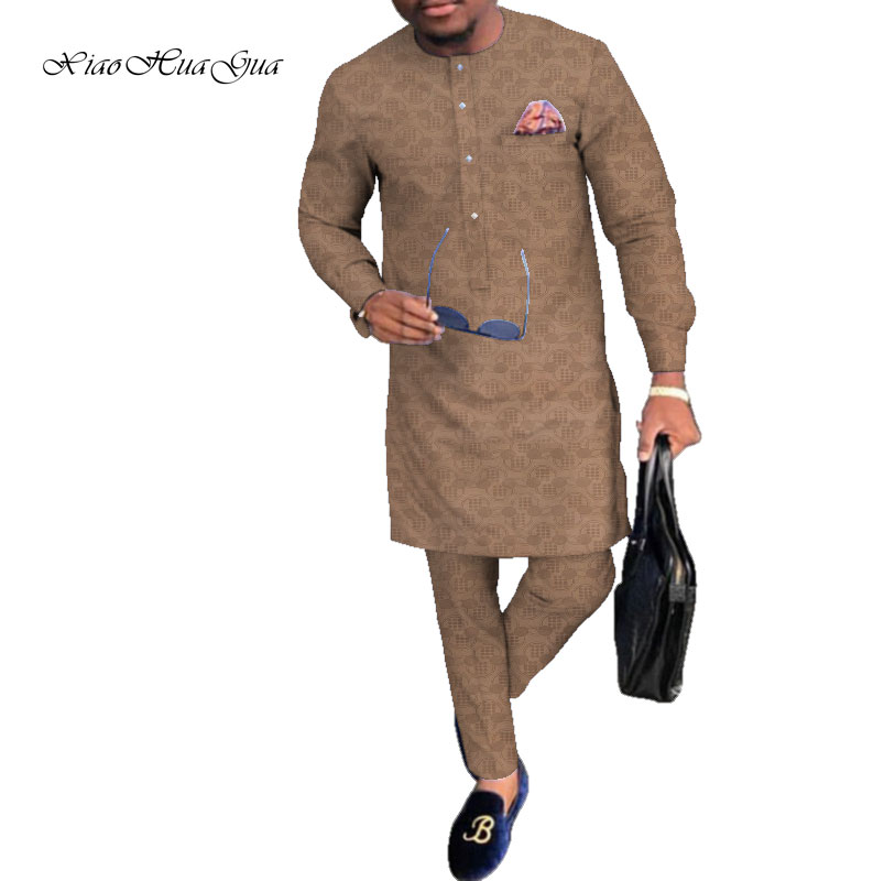 Autumn Traditional African Clothing Print Dashiki Men Casual Shirts And Trousers Pant Sets Plus Size African Men Clothes WYN809