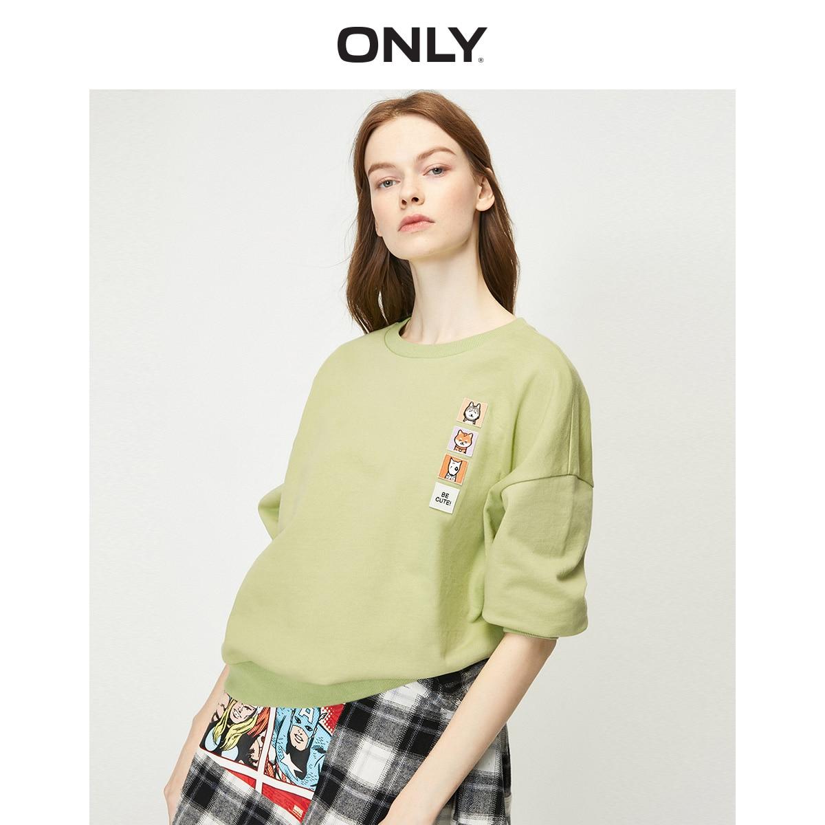 ONLY Women's Loose Fit Cartoon Patch Sweatshirt   12019S605