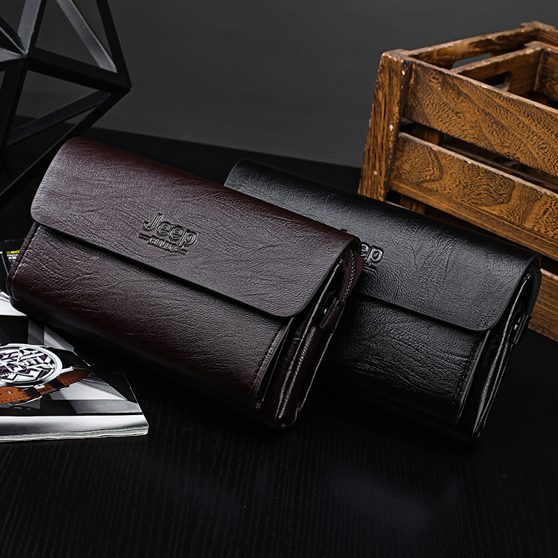 JEEP Brand Men/'s Handbag Clutches Bag For Phone Pen High Quality Leather Wallets