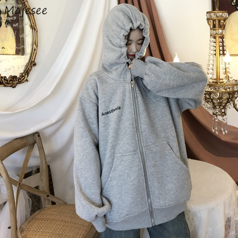 Basic Jackets Women Hooded Spring Trendy Letter Loose Ulzzang Long Sleeve Casual Newest Female Coats Couple Chic Soft Outerwear