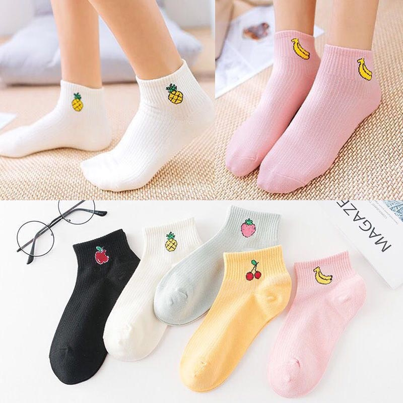 La MaxPa 5pairs spring art fresh fruit boat socks white soft cotton socks breathable cute Promotion women's travel Hosiery k2638