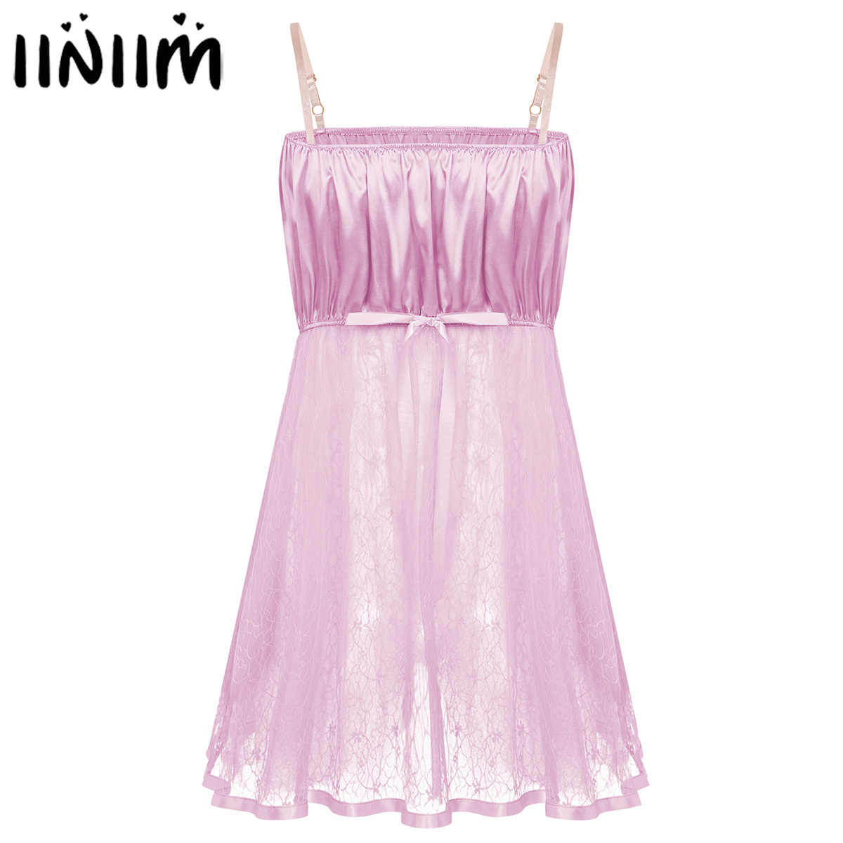 Men Exotic Apparel Sissy Satin Lingerie Sexy Transparent Lace Babydoll Dress Nightwear Male Gay Porno Underwear Clubwear Costume