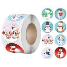 Милые этикетки со снеговиком Рождественская наклейка 500 шт/рулон