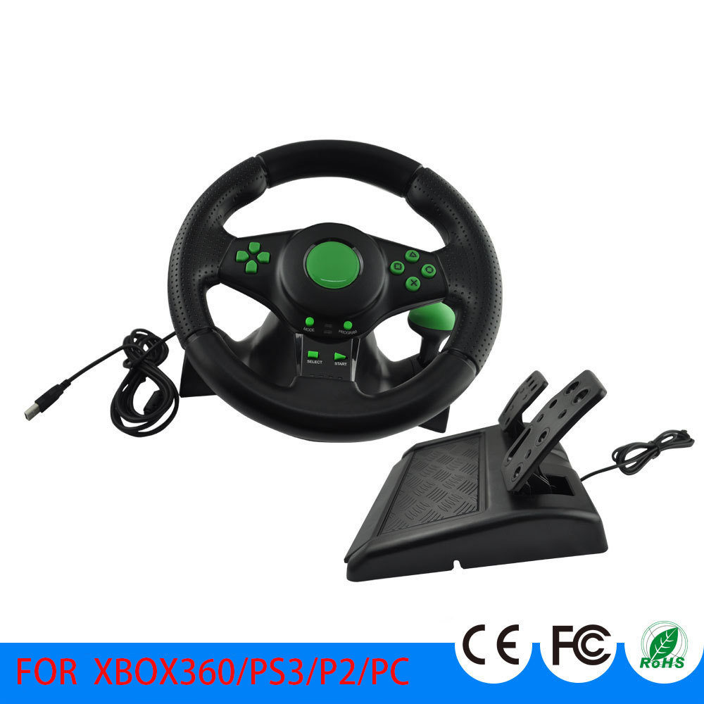 Racing Sim Game Steering Wheel With Pedals For XBOX 360 PS2 PS3 Computer USB Car Steering Wheel 180 Degree USB Vibration Auto image
