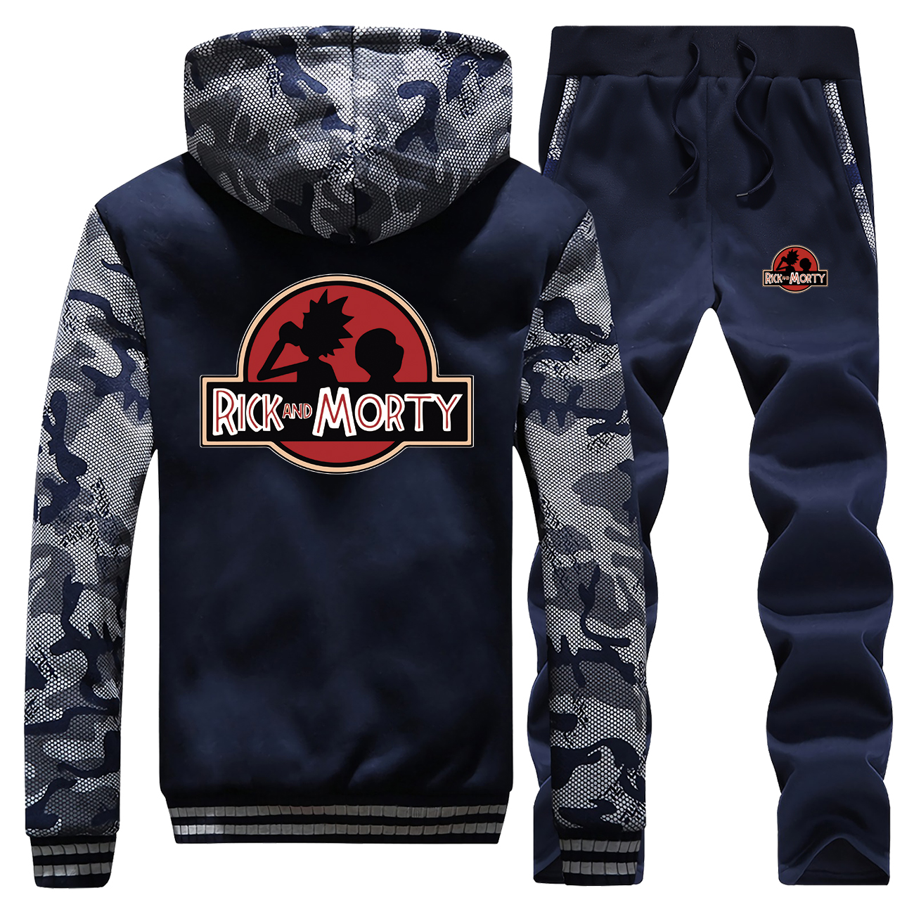 Rick And Morty Streetwear Winter 2019 Cartoon Hoodies Mens Camouflage Raglan Suit Sweatshirts Coat Thick Hoody+Pants 2 Piece Set