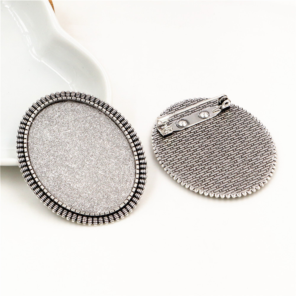 New Fashion  5pcs 30x40mm Inner Size Antique Silver Plated Pin Brooch Flowers Style Base Setting Pendant (B4-17)