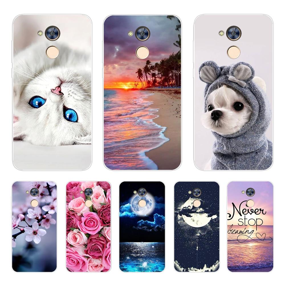 Capa de telefone para huawei honor 6a 6x 6c pro silicone macio tpu gato bonito pintado capa traseira para huawei honor 5c 5x 4c caso