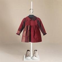 Spring Girl Dress Cotton Long Sleeve Children Dresses  lattice stripe Kids Dresses for Girls Fashion Girls Clothing  bebe