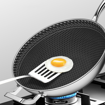 Stainless Steel Wok Non-stick Pan No Fumes Uncoated Household Gas Stove Special Non-stick Pot Induction Cooker Wok