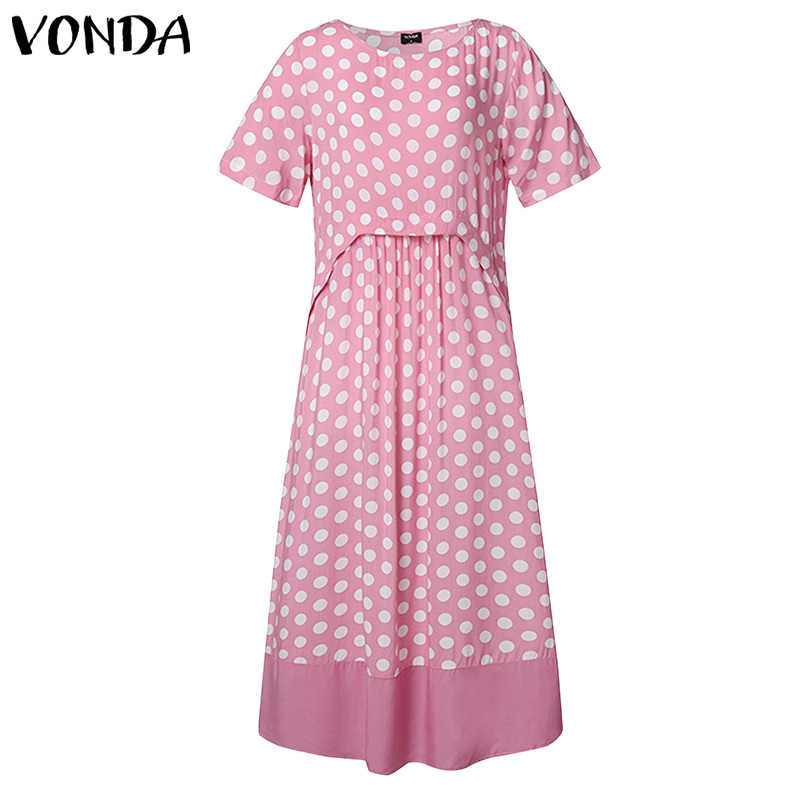 VONDA ชุดผู้หญิงเซ็กซี่ O คอสั้นแขนยาว VINTAGE Dot พิมพ์ Maxi ชุดยาวหลวม Bohemian PARTY Robe Femme Sundress s-5XL
