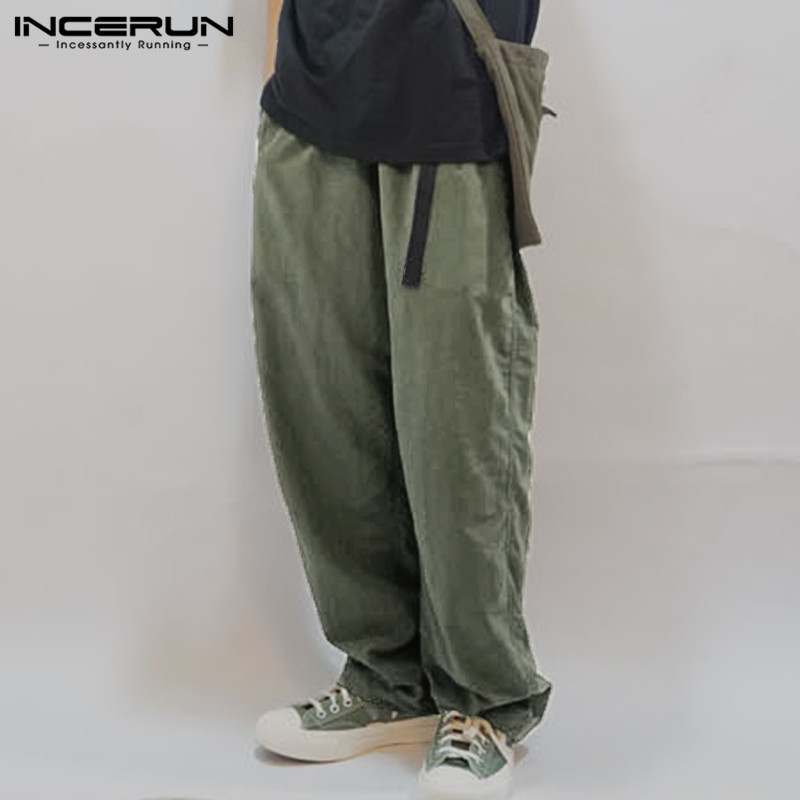 INCERUN Men Wide Leg Pants Solid Loose Streetwear Belt Cotton Joggers Long Pants Harajuku Vintage Casual Trousers Men 2020 S-5XL