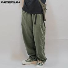 INCERUN Men Wide Leg Pants Solid Loose Streetwear Belt Cotton Joggers Long Pants Harajuku Vintage Casual Trousers Men 2020 S-5XL
