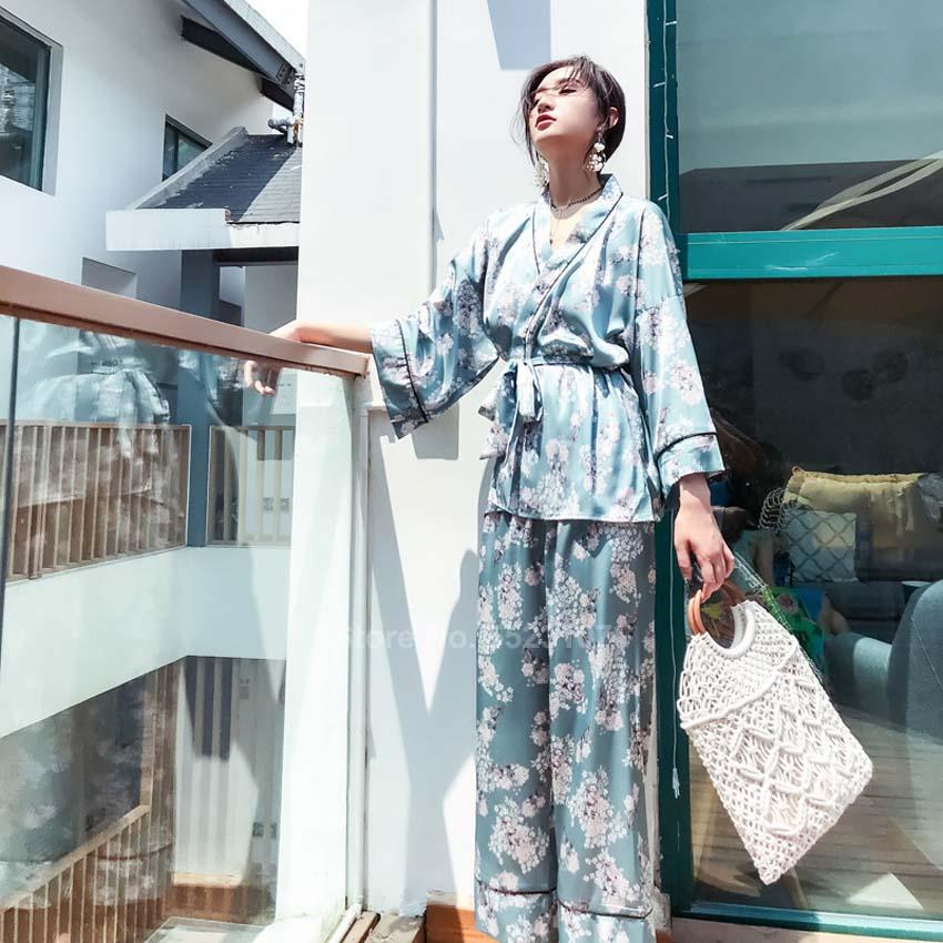 Japanese Style Women Pajamas Set Floral Kimono Yukata V-neck Silk Smooth Sleepwear Bath Lounge Sexy Pyjamas For Female Outfit