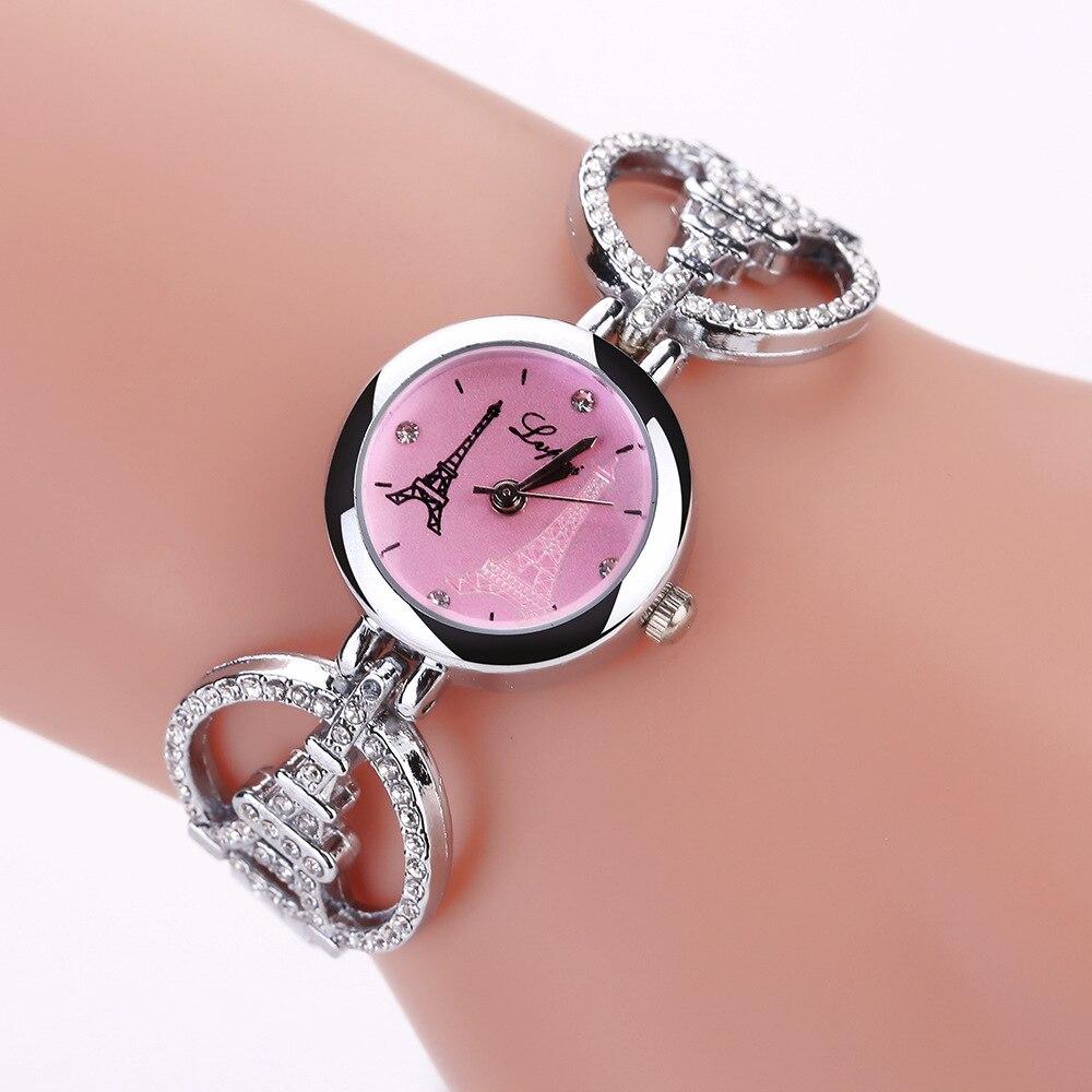 Women Watches  Luxury Brand Ladies Romantic Eiffel Tower Watch Diamond Bracelet Clock Femme Relojes Mujer WM1086