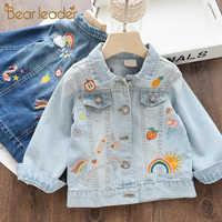 Urso líder denim casacos para a menina crianças dos desenhos animados bordado jaqueta outono primavera bebê meninas casaco crianças roupas 3 8 anos