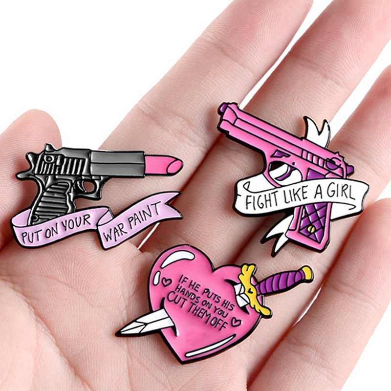 Pines de esmalte de pistola pintalabios magia broches, Pin de solapa camisa rosa de insignias joyería feminista regalo