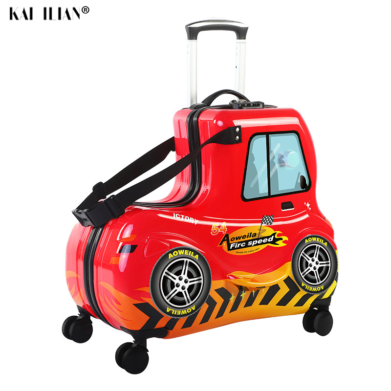 24''3D Car Cartoon Children Rolling Luggage Spinner Suitcase Wheels Student Multifunction Trojan Horse Trolley Kids Travel Bag