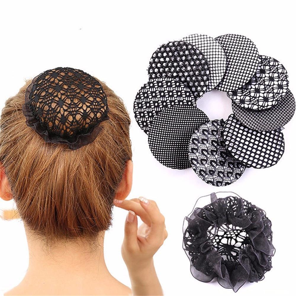 Women Bun Cover Snood Hair Net Ballet Dance Skating Crochet Rhinestone Nice W0