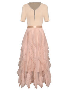 Moaayina Tops Skirt Short-Sleeve Two-Piece-Suit Designer-Set Ruffles Fashion Summer Women