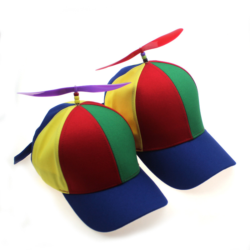 Funny Cute Creative Removable Propeller Bamboo Dragonfly Baseball Cap Hat Children Shade Parent-child Cap