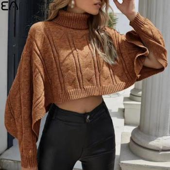 купить Winter Women Long Sleeve Short Sweater High Collar Knitted Turtleneck Pullovers Ladies Casual Cloak Smock Jumper Pullover Tops в интернет-магазине