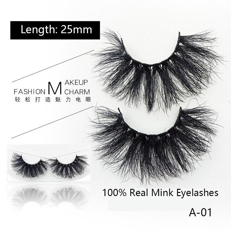 QSTY1pairs 25mm 6D Mink Lashes Natural Longos Cílios Postiços Volume Lashes Falso Maquiagem Cílios Extensão maquiagem