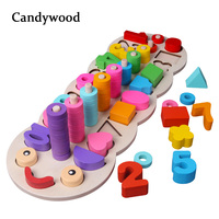 1set Wooden Toys 2019 Montessori Materials Learn To Count Numbers Matching Digital Shape Match Early Education Teaching Math Toy
