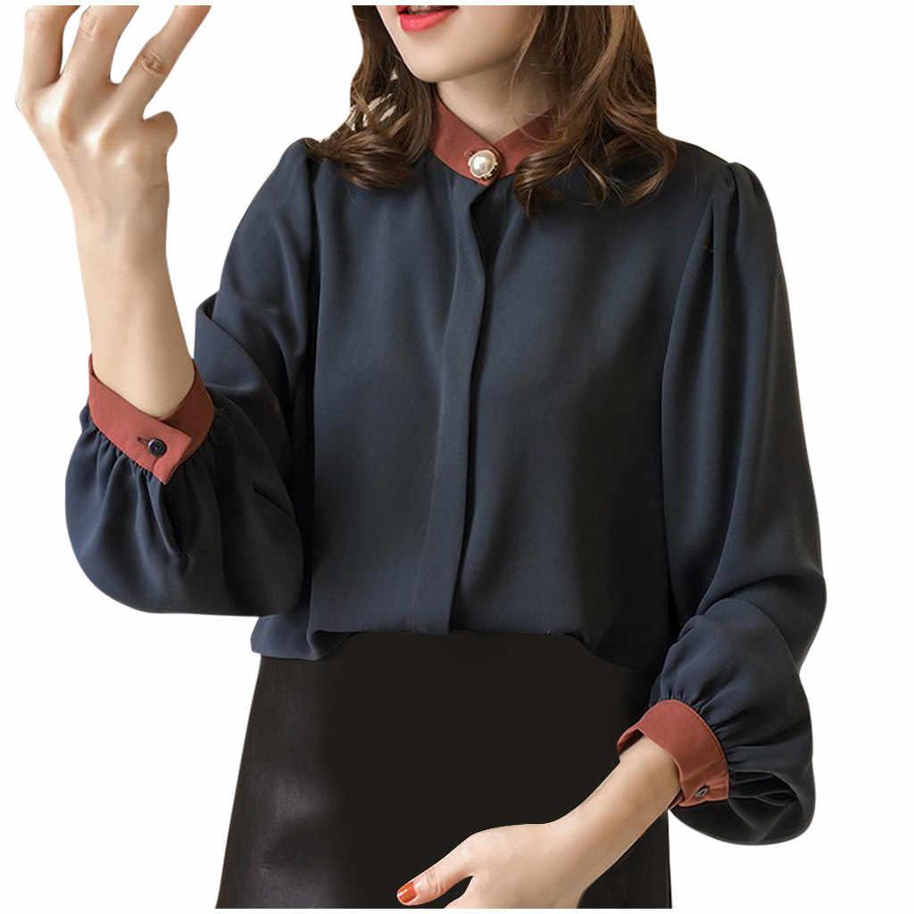 Femmes chemises et chemisiers 2019 Blouse femmes longue lanterne manches Stand décontracté hauts perle bouton mousseline de soie bouton chemises solides