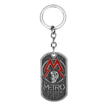 Dog Tag Pendant PC Game Metro Exodus 2033 Necklace Leather Metal Key Chain Men Necklaces Charm Gifts Jewelry game metro 2033 keychain letter metro exodus skull dog tag pendant key chain for men car keyring llaveros jewelry