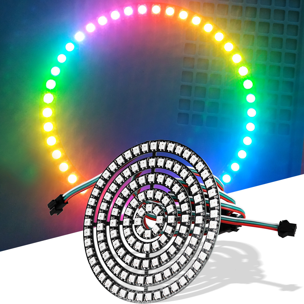 RGB Addressable WS2812B Pixel Ring 8 16 24 35 45 LEDs WS2812 5050 RGB LED Ring WS2812 Ic RGB Address Led Strip DC 5V Full Color