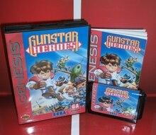 Mdゲームカード gunstarヒーロー米国カバーボックスとマニュアルセガメガジェネシスビデオゲームコンソール 16 ビットmdカード