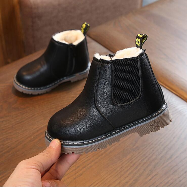 Spring Autumn Kids Boots Boys Girls PU Leather Toddler Girl Boots Size 21-30 Girls Fashion Boot