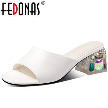 FEDONAS   Women Slippers Cow Leather High Quality High Heeled Crystal Sandals Basic Shoes Summer 2020 New Arrival Shoes Woman