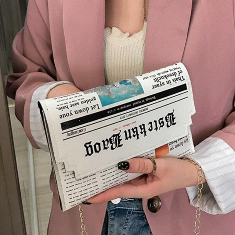 2020 Women's Bag Creative Newspaper Crossbody Bags For Women Artificial Leather Shoulder Bags Ladies Messenger Bag Bolsa Mujer