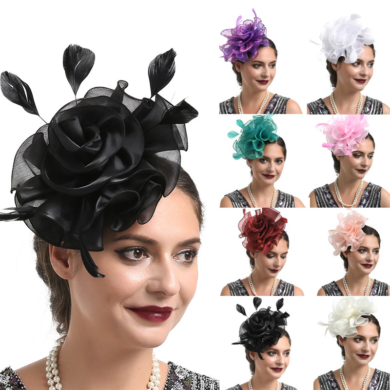 New Womens Flower Feather Large Mesh Veil Fascinator Hat Clip Wedding Proms Race Ribbons Feathers Headband Cocktail Party