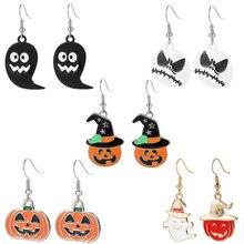 Ins personalized hip-hop fashion ear accessories horrible Halloween orange pumpkin ghost combination earrings
