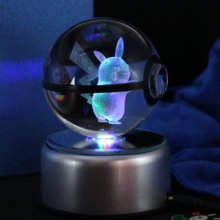 Popullar 80 MM 3.15 Inch Diameter Kaca Kristal Pokeball dengan Diputar LED Lamp Base Hadiah Natal(China)