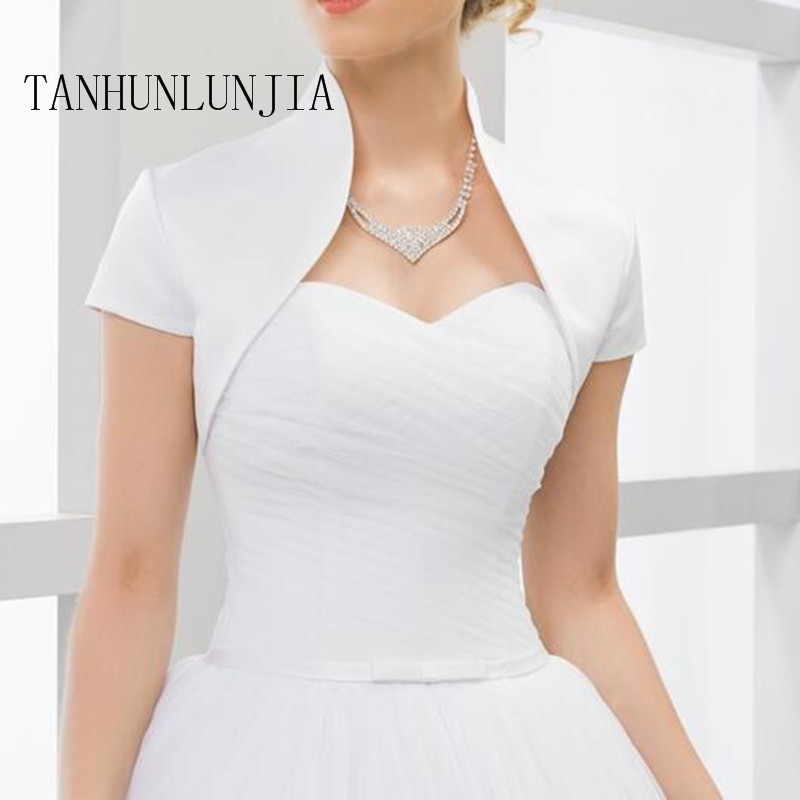 Custom Made Short Sleeves Wedding Jacket New Arrival Satin Bolero Jackets For Evening Dresses Free Shipping Bridal Jacket