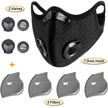 #H30 Dust With 4 Filters 2 Exhaust Valves Half Face Reusable Dustproof Respirator Sport Cycling Bicycle Bike Face Mouth Mask