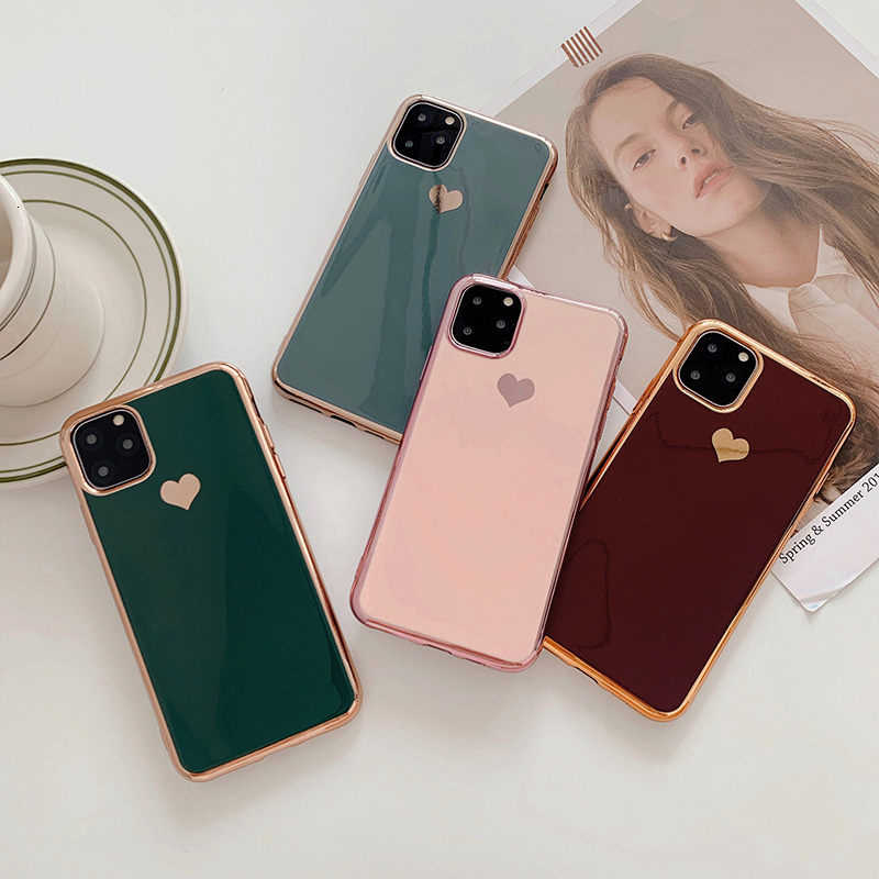 Electroplated love heart Phone Case For iPhone 11 11Pro Max XR XS X XS Max 7 8 6 6S Plus Shockproof Protective Back Cover capa